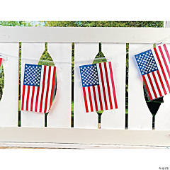 Plastic Line of American Flags