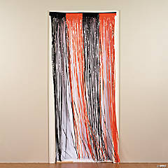 Plastic Orange & Black Fringe Door Curtain