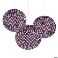 Plum Chevron Hanging Paper Lanterns