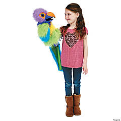 Plum Parakeet Large Bird Plush Puppet