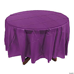 Plum Round Plastic Tablecloth
