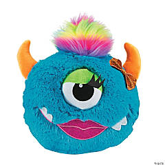 Plush Bright Blue Monster Pillow