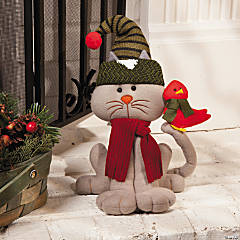 Plush Cat with Cardinal