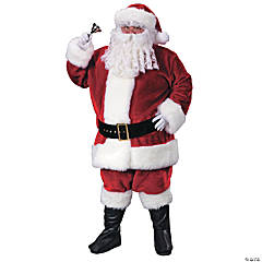 Plush Crimson Santa Suit Plus Size Adult Men's Costume