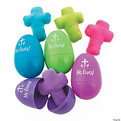 Plush Cross-Filled Religious Easter Eggs - 12 Pc.