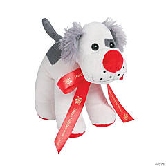 Plush Dog with Personalized Holiday Ribbon