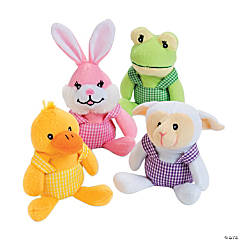 Plush Easter Characters in Overalls