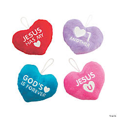 Plush Hearts with Faith Message