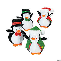Plush Holiday Dressed Penguins