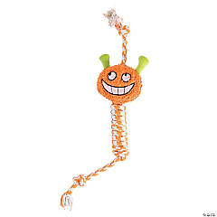 Plush Jack-o'-Lantern with Rope Dog Toy