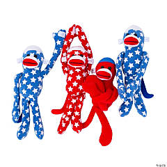 Plush Long Arm Patriotic Sock Monkeys