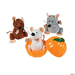 Plush Mice in Pumpkins