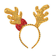 Plush Sequin Reindeer Antler Headband
