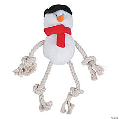 Plush Snowman Dog Toy with Ropes