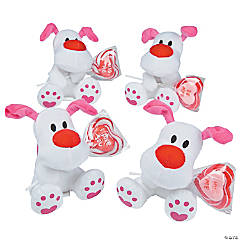 Plush Valentine Dogs with Sucker
