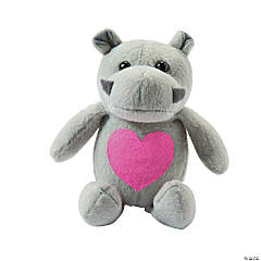Plush Valentine Hippos with Printed Heart