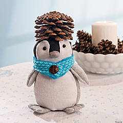 Plush Winter Penguin with Pinecones