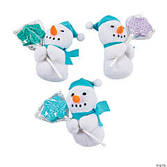Plush Winter Snowmen with Snowflake Suckers