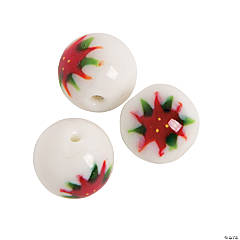Poinsettia Painted Round Christmas Lampwork Beads - 15mm