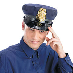 Police Hat with Gold Badge