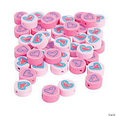 Polymer Flat Round Heart Beads - 10mm