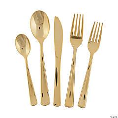 Premium Plastic Gold Cutlery Set