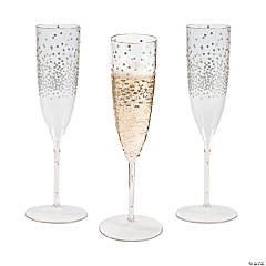 Premium Plastic Silver Dot Champagne Flutes