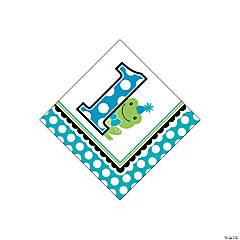 Preppy Frog Blue 1st Birthday Beverage Napkins