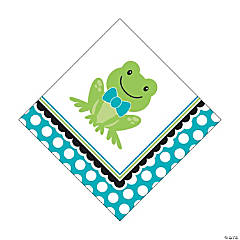 Preppy Frog Blue 1st Birthday Luncheon Napkins
