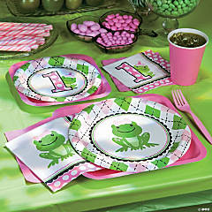 Preppy Frog Pink 1st Birthday Party Supplies