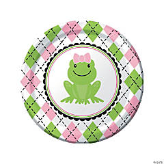 Preppy Frog Pink 1st Birthday Dinner Plates