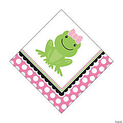 Preppy Frog Pink 1st Birthday Luncheon Napkins