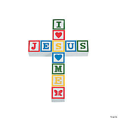 Primary Colored Jesus Loves Me Wall Cross