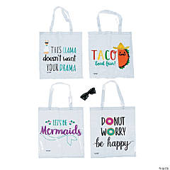 Printed Fun Sayings Clear Tote Bags