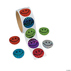 Prism Smile Face Roll of Stickers