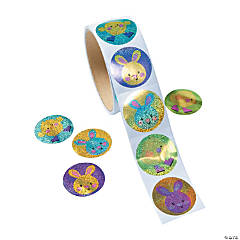 Prismatic Easter Bunny & Chick Sticker Rolls