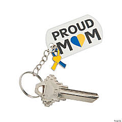 Proud Mom Down Syndrome Awareness Key Chains with Charm