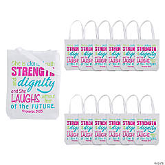 Proverbs 31:25 Tote Bags
