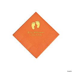 Pumpkin Baby Feet Personalized Napkins with Gold Foil - Beverage