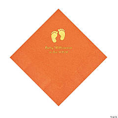 Pumpkin Baby Feet Personalized Napkins with Gold Foil - Luncheon