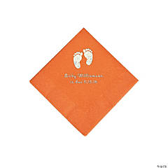 Pumpkin Baby Feet Personalized Napkins with Silver Foil - Beverage