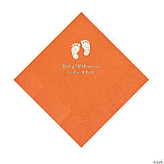 Pumpkin Baby Feet Personalized Napkins with Silver Foil - Luncheon