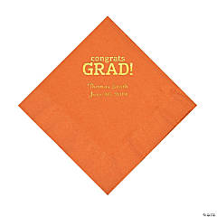 Pumpkin Congrats Grad Personalized Napkins with Gold Foil - Luncheon