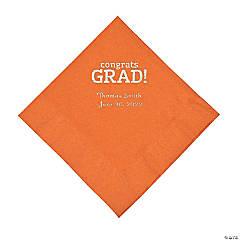 Pumpkin Congrats Grad Personalized Napkins with Silver Foil - Luncheon