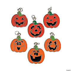 Pumpkin Face Enamel Charms