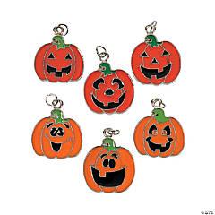 Pumpkin Face Enamel Charms