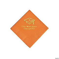 Pumpkin Grad Mortarboard Personalized Napkins with Gold Foil – Beverage
