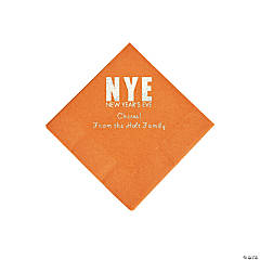Pumpkin New Year's Eve Personalized Napkins with Silver Foil - Beverage