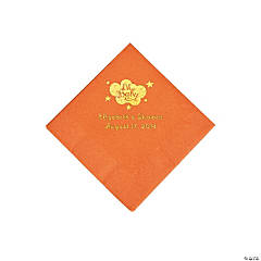 Pumpkin Orange Oh Baby Personalized Napkins with Gold Foil - Beverage