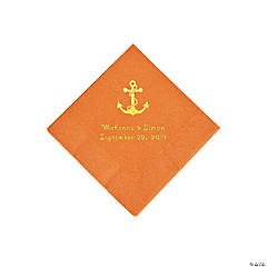 Pumpkin Spice Anchor Personalized Napkins with Gold Foil - Beverage